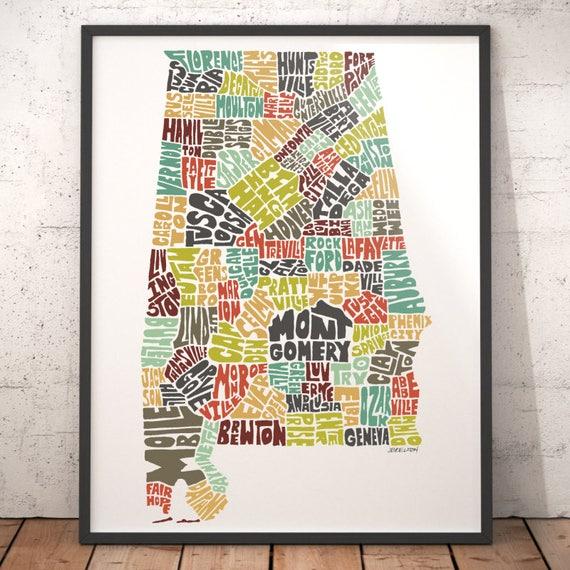 Alabama Map Art Alabama Art Print Alabama Typography Map - Map of alabama cities