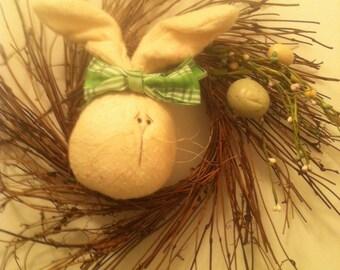 Twig wreath with handsewn bunny