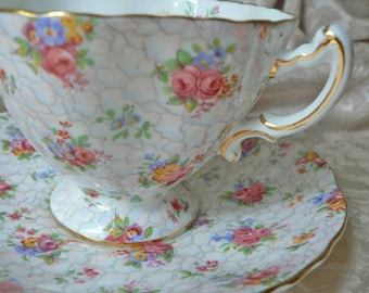 Hammersley Pink Blue Yellow Floral Chintz Teacup Cup Saucer