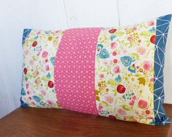 Cushion cover 50 x 30 cm, patchwork fabric origami petrol blue, flowers, stars asanohas raspberry