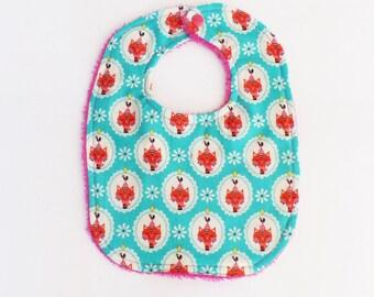 "0-6 months baby bib patterns ""Cats"" and sponge fuchsia Turquoise"