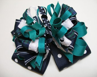 OTT Deluxe Hair Bow Navy Blue Green White Unique Big Boutique Toddler Girl  Korkers Over The Top