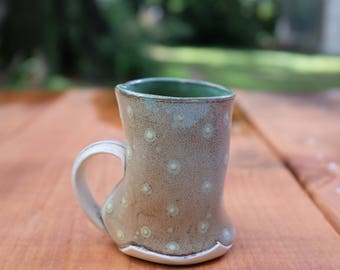 Soda fired porcelain slab mug