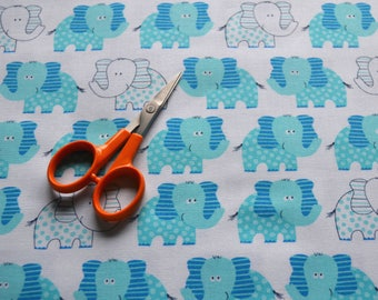 Elephant Fabric, Blue and White, Jungle Print/Children's Sewing Material/Quilting, Clothing, Craft/Fat Quarter, By The Yard, Yardage