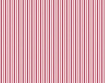 Christmas Fabric By Riley Blake - Red, Pink and White Stripe - Cotton Yardage - Fabric By The Yard - By the Fat Quarter - Half Yard Fabric