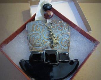 Handcrafted Porcelain Hat Ornament