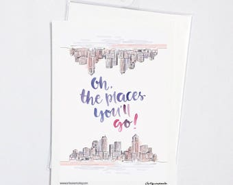 The Places You'll Go Travel Mini Print Typography Motivational Quote Notecard Postcard
