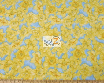 100% Cotton Fabric By Wilmington Prints - Walking On Sunshine Yellow/Blue - By The Yard (FH-3438) Clothing Decor Accessories