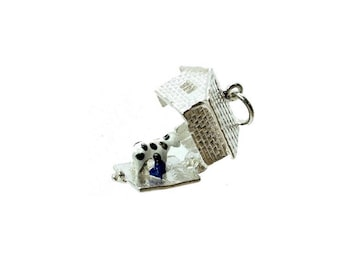 Sterling Silver Opening Cow Shed Charm For Bracelets