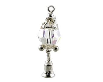 Sterling Silver & Swarovski Crystal Set Lamp Post Charm For Bracelets