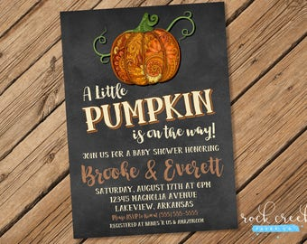 Pumpkin Baby Shower Invitation, Autumn Baby Shower,  Halloween Shower, Thanksgiving Shower, Printable Baby Shower Invitation