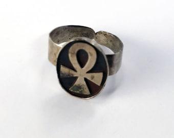 Vintage Sterling Silver Egyptian Ankh Adjustable Ring