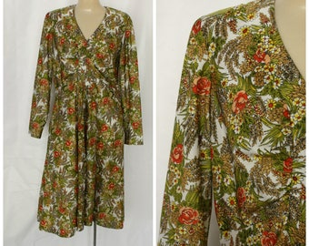 Floral Office Dress / 1970s Secretaries Dress / Vintage Day Dress / Vintage 1970s Modest Day Dress M