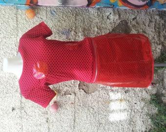 Transparent plastic red futuristic skirt