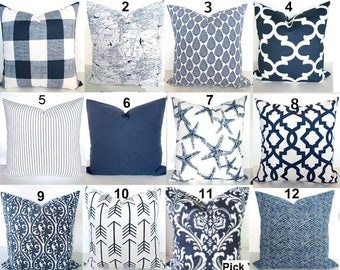 BLUE THROW Pillows Navy Blue Throw Pillows Blue Pillow Covers Dark Blue Decorative Throw Pillow Covers All Sizes 18x18 16 20 Euro Shams