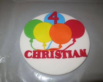 Balloon themed Fondant cake - name and age