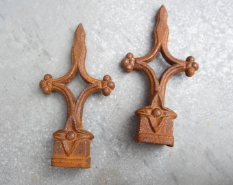 Curtain rod finials pair rusty shabby chic French farmhouse decor