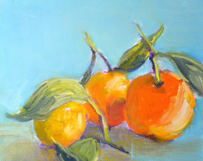Oranges with leaves painting, Orange  Still life, Fruit painting, Original oil, oil  canvas, small square modern painting, Gift for mom