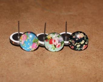 Flower Photo Earrings | Titanium Earrings | Hypoallergenic Studs | Flower Stud Earrings | Flower Studs