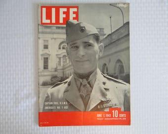 1943 Life Magazine War Issue , June 7, Captain Foss U.S.M.C. America's No.1 Ace - Betty Grable's Legs
