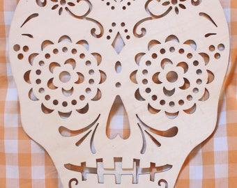Wood Die-cut Dia de los Muertos Skull