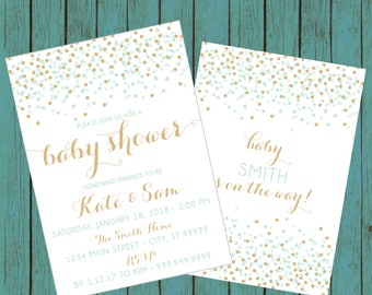 ON SALE! Couples Baby Shower Invitation, Confetti Baby Shower Invitation, shower invite, baby shower, mint and gold