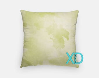 Green Watercolor Pillow, Green Pillow Cover, Paint Design Pillow Case, Watercolor Design, Green Home Decor, Decorative Pillow Case, Sham