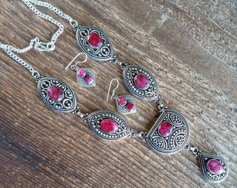 Ruby Necklace, Tribal Necklace, Indian Jewelry Earrings, Indian Jewelry Set, Gemstone Jewelry, Vintage Jewelry, Sterling Silver Jewelry