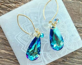 Crystal Teardrop Earrings, Blue Crystal Earrings, Crystal Earrings, Gold Earrings, Statement Earrings, Boho Earrings, Bohemian Jewelry