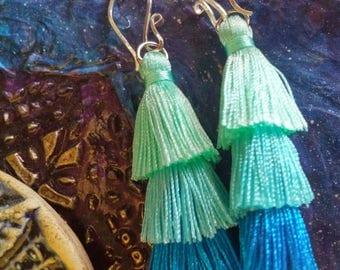 Tassel Earrings, Ombre Tassel Earrings, Turquoise Tassel Earrings, Bohemian Jewelry
