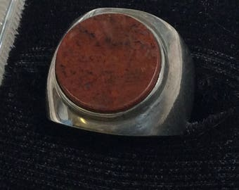 Sterling Silver Taxco Ring with Red Jasper