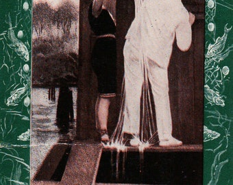 1900's Bathing Beauty nautical postcard -  woman on beach in bathing suit showering man in suit