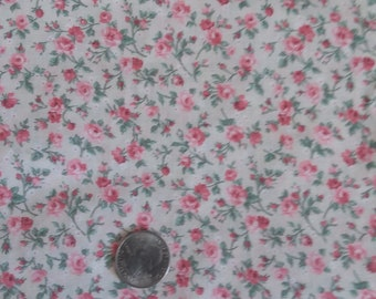 10 yards VIP Cranston petite pink and green floral on ecru