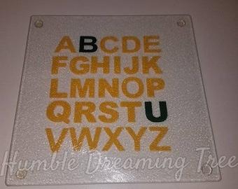 BU Baylor University Bears Glass Cutting Board Green & Yellow/ Gold ABCs Graduation Gift College Housewarming