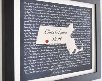 Wedding Map Art, ANY Lyrics Song First Dance Song Just a Kiss Lyrics Country Music Wall Art Gift Valentine Day Present Custom Gift Print