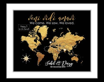 Long distance relationship gift map, gold and black art print, custom engagement gift, anniversary gift, deployment gift, compass