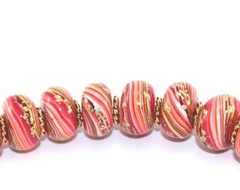 CIJ SALE Round pressed stripes beads, rondelle beads for Craft supplies,  Polymer Clay beads in red, orange and gold, Set of 8 unique beads