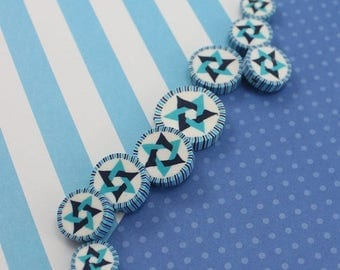 CIJ SALE Star of David beads, Jewish Symbol in blues turquoise and white, polymer clay round flat beads, set of 9 Polymer clay beads