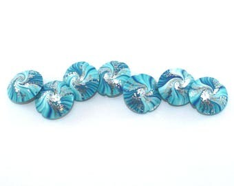 Beads for jewelry making, unique focal beads, polymer clay beads, swirl lentil beads in blue, turquoise and white, 7 elegant beads