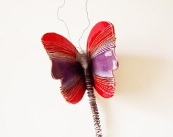 Red purple butterfly, ceramic butterfly, wall butterfly sculpture, large butterfly sculpture, clay and wire butterfly art object