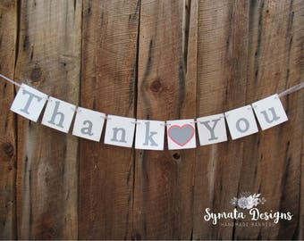 Thank you heart banner - Thank you banner - photo prop - wedding decoration-  grey and coral heart- lower case letters - romantic - IATY134