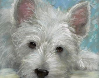 PRINT Westie West Highland Terrier Dog Art Children's Room or Nursery Puppy painting / Mary Sparrow