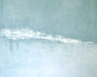 Serene Gray Grey Aqua White Painting Ocean Beach Seascape Painting Peaceful Quiet Soft Green Wall Art Canvas Original and Canvas Prints