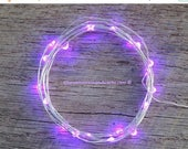 CLEARANCE limited supply Purple LED Battery Operated Fairy Lights, Rustic Wedding Decor, Room Decor, 6.6 ft SILVER Wire Purple