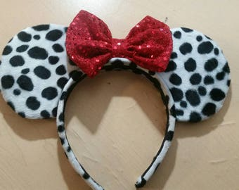 Dalmatian Minnie and Mickey ears