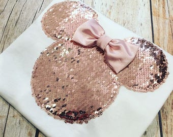 Minnie Mouse Inspired ROSE GOLD Sequin Tee Only