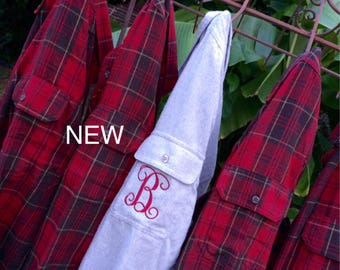 10 Bridesmaid Flannel Shirts Wedding Day Monogram Gift Bachelorette Party Robe Sorority Rustic Red Plaid Bridal Shower Girls Night Out