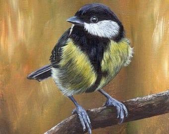 SALE Bird Art Painting Great Tit SFA Wildlife Original hand painted bird acrylic painting by Australian Artist Janet M Graham