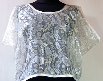 White Lace Drape Top SUMMER CLEARANCE SALE