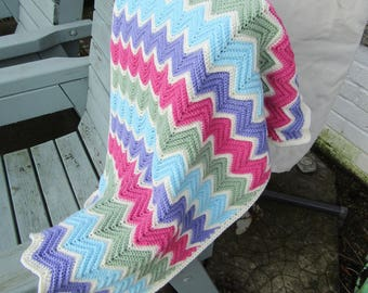 Crochet chevron blanket, crochet baby blanket, crochet blanket, baby girl baby blanket, ready to ship